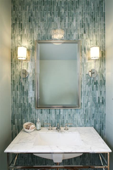 glass tile powder room turquoise glass tiles contemporary living room