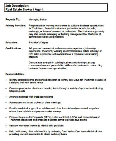 Real Estate Agent Job Description For Resume by Sample Real Estate Resume 9 Examples In Word Pdf