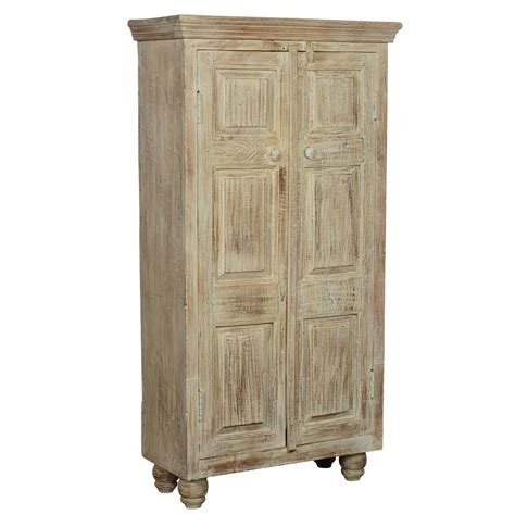 Distressed Wood Armoire by Rustic Distressed Solid Wood Storage Cabinet Armoire