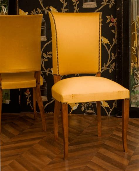 vintage chairs art deco chairs  wood yellow