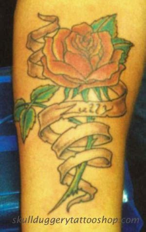 scroll and rose tattoo 40 scroll ribbon designs and images