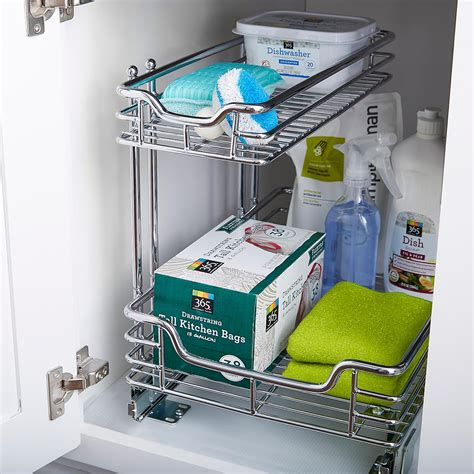 chrome and gray basket sliding system for base cabinets chrome 2 tier sliding organizer the container store
