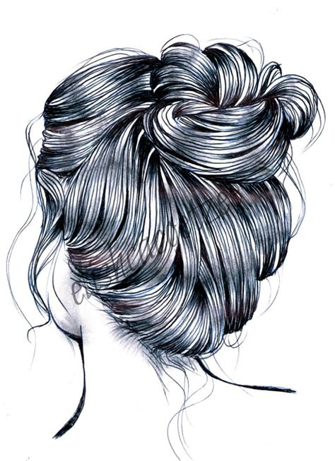 messy bun procedure articoli simili a messy bun hair drawing illustration