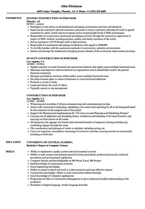 construction foreman resume exles sles construction supervisor resume resume