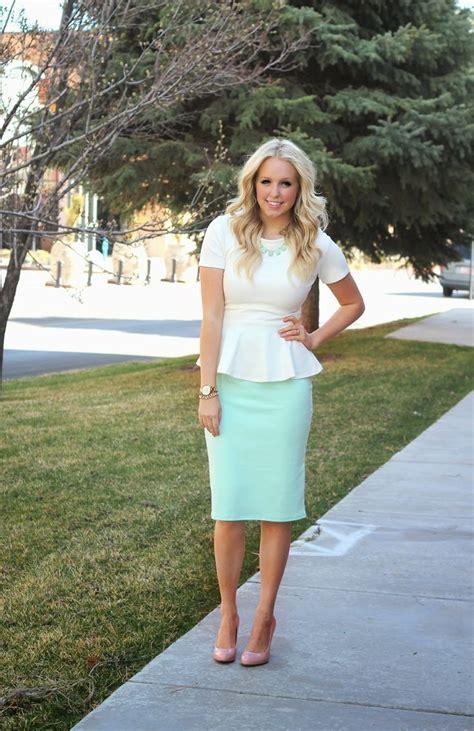 mint peplum top and pencil skirt i want a peplum
