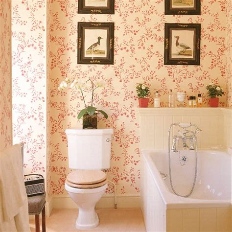 bathroom with patterned wallpaper tongue and groove