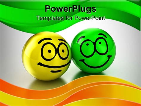 Templates Powerpoint Smile | powerpoint template yellow and green sphere with a smile