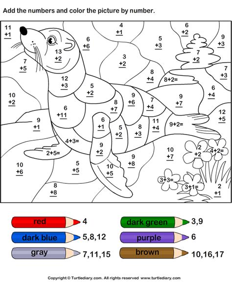 add color search results for color by number addition worksheets