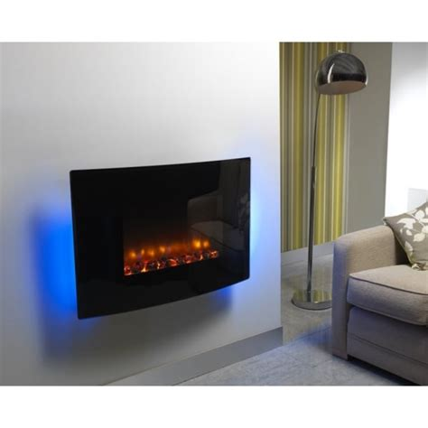 hton electric fireplace essential fireplaces curved black glass 36 inch wall