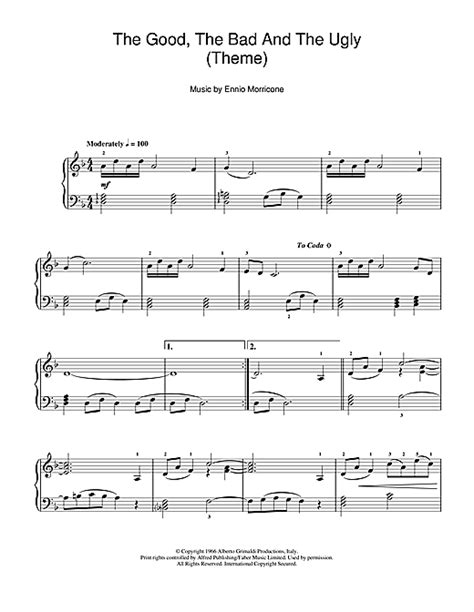 theme music good bad ugly the good the bad and the ugly theme sheet music by
