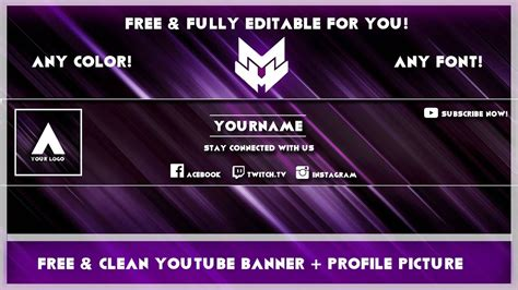 Clean Youtube Banner Avatar Template Any Colour Free Photoshop Youtube Clean Banner Template