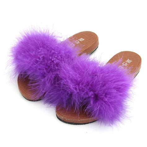 fluffy slippers for flats slip on feather fluffy slippers mules