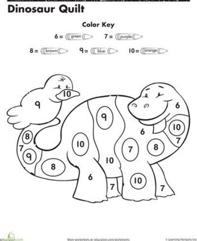 color by number kindergarten worksheets dinosaur color by number preschool items