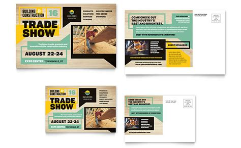 Builder S Trade Show Postcard Template Design Adobe Postcard Template