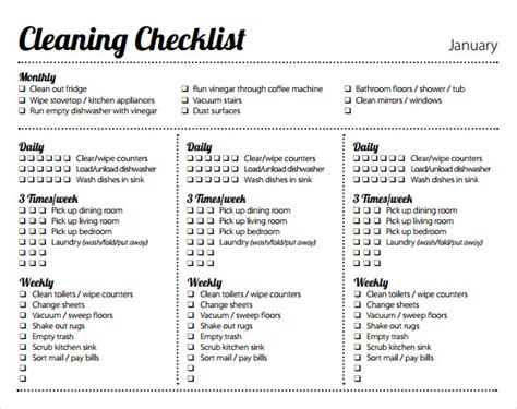 11 Weekly Checklist Templates To Download For Free Sle Templates Cleaning Checklist Template