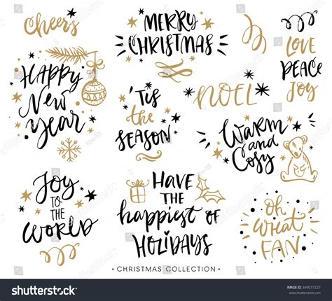 christmas calligraphy phrases hand drawn design stock vector  shutterstock