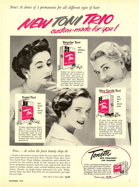 1950s perms toni perm ad showing three lovely short wavy styles from
