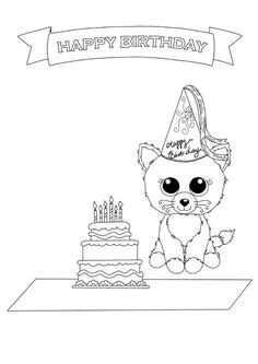 happy birthday cat coloring page here is the happy meal teenie beanie boos coloring page