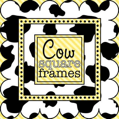 cow pattern frame digital clip art square frames in cow print from
