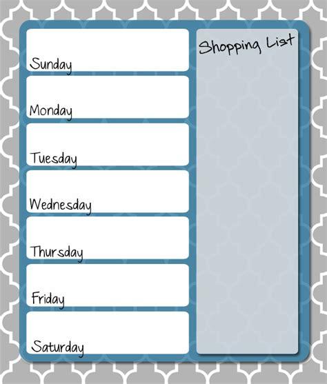 weekly food menu template 4 best images of free printable weekly menu planner free