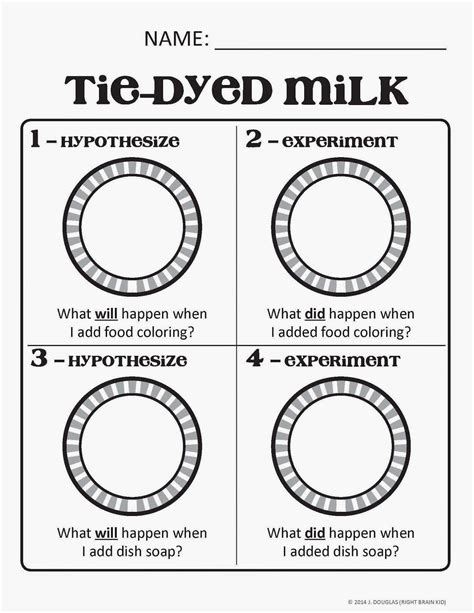 milk and food coloring experiment activity sheet to go with the milk and food coloring