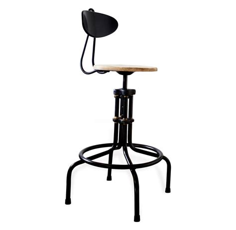 Brexton adjustable height industrial light oak stool with back kathy kuo home