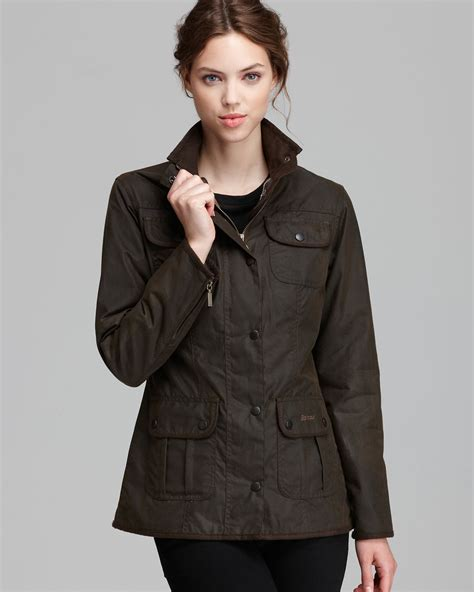Womens Barbour Waxed Cotton Utility Jacket Barbour | barbour jacket utility lightweight waxed cotton in brown
