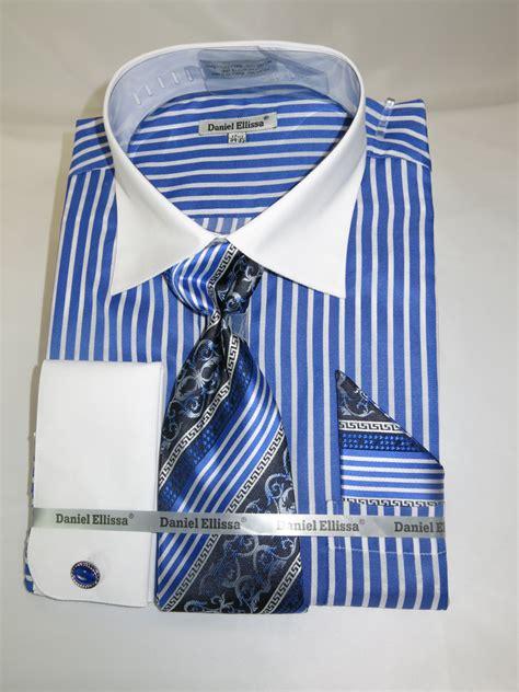 pattern shirt and tie combo daniel ellissa ds3787p2 quot royal blue quot men s french cuff