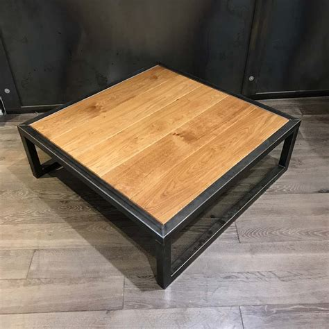 table acier bois industriel tables basses mobilier industriel l or du temps