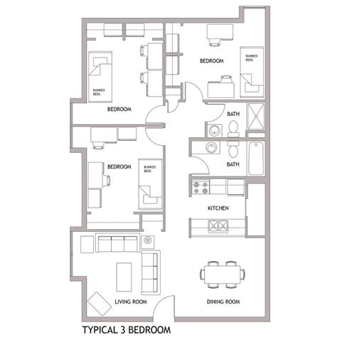 Two Bed Two Bath Floor Plans regional campuses university housing