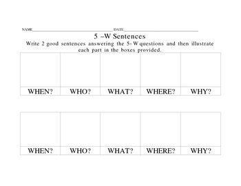 design brief sentence the 5 w sentences by b rogers teachers pay teachers