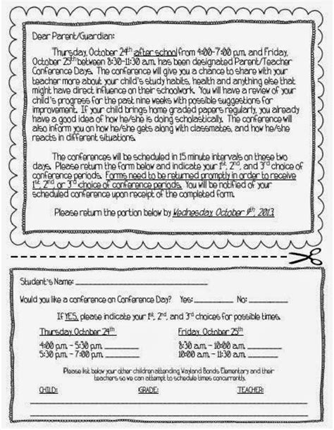 Parent Letter Requesting Parent Conference 7 Best Images Of Parent Conference Letter Printable Parent Conference Time