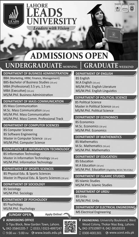 Mba In Mass Communication Syllabus by Admission Open In Lahore Leads 4 Feb 2018