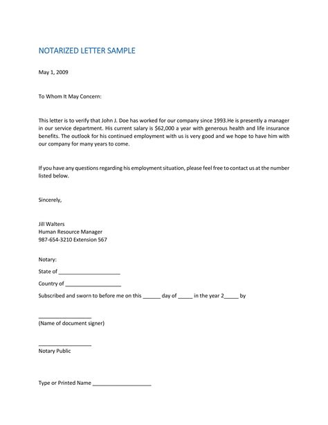 notary template letters letter template