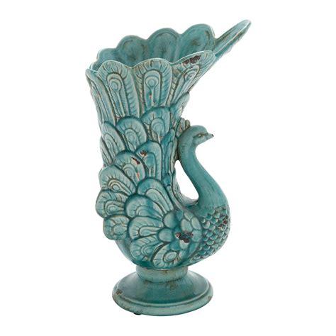 woodland imports 71254 ceramic peacock vase atg