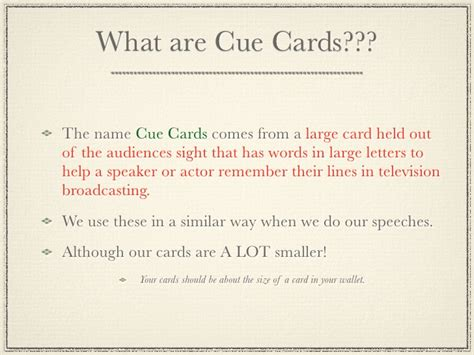 writing cue cards