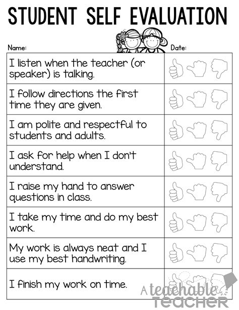 Student Self Evaluation Templates a teachable parent conference tips and