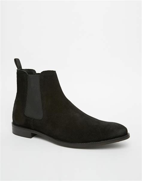 black suede chelsea boots asos chelsea boots in suede in black for lyst