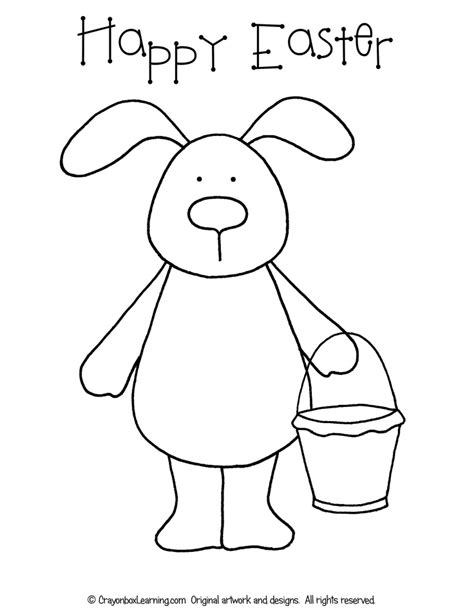 bunny coloring page for preschool free easter bunny coloring sheet crayonbox learning