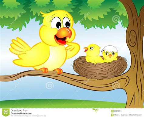 Cartoon Bird with Nest stock illustration. Illustration of