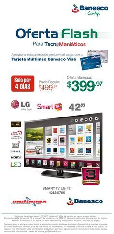Tv Multimax promociones quot tarjeta multimax banesco quot on smart tv led and mini