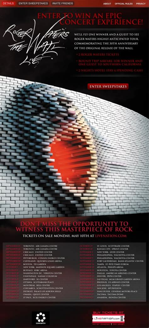The Wall Sweepstakes - roger waters the wall live tour dates presale info and epic sweepstakes bumpershine com