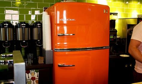 rachael ray kitchen appliances an orange big chill retro refrigerator really stands out