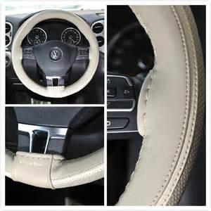 Steering Wheel Wrap Ebay Wrap Steering Wheel Cover Beige Pvc Leather Diy Needle New