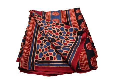 Atomix Cotton Organic Kapas Organic ajrakh block print modal silk saree 1 cocoon kapas