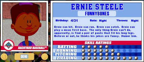 backyard sports player profile 3 of 30 ernie