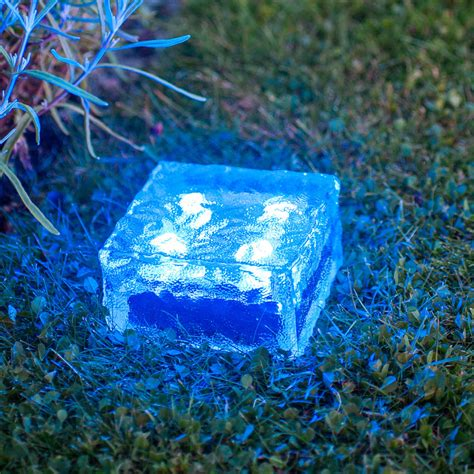 Large Solar Garden Path Light Glass Brick 4 Blue Leds Large Outdoor Solar Lights
