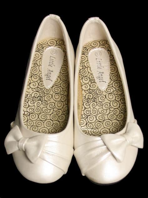 ivory childrens flat shoes w bow