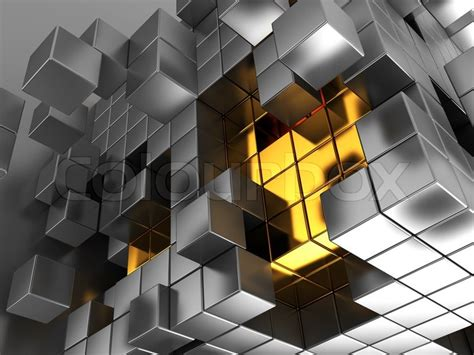 abstract 3d illustration of metal cubes background stock