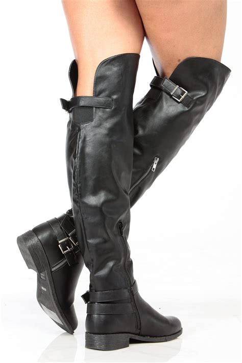 black riding black faux leather over the knee buckle up riding boots